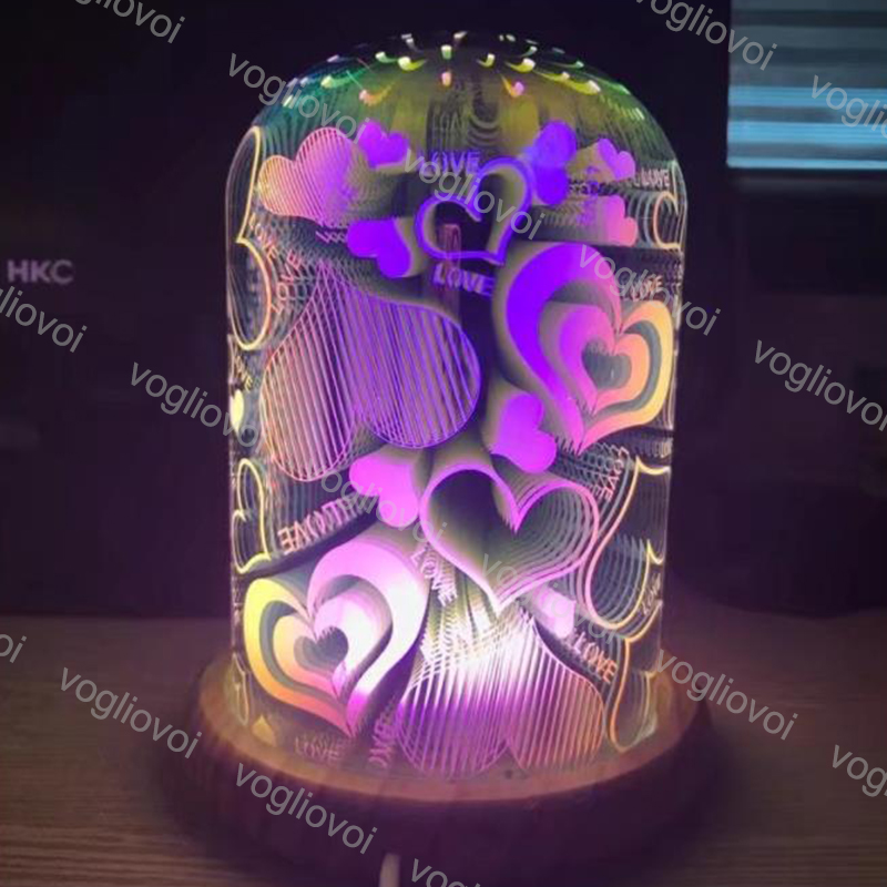 Vogliovoi Luci notturne 3D STAR scoppio luce Di notte Fuochi D'artificio Star cuore Ha CONDOTTO LA LAMPADA Da Tavolo Di colore Che Cambia Lampada Del regalo Decorativo Per La Casa - 3