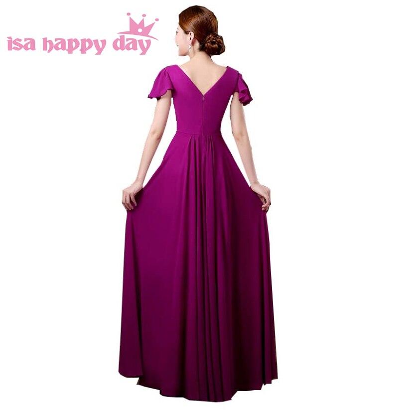 Col en v belle pourpre rouge à manches longues perlée mariée robe de demoiselle d'honneur robes bleu clair robe de soirée pour les mariages H3328 - 3