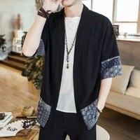 Kimono Shirt Men Chinese Streetwear Vintage Kimono Shirt Men Linen Kimono Cardigan Men Shirt Plus Size 5XL 2018