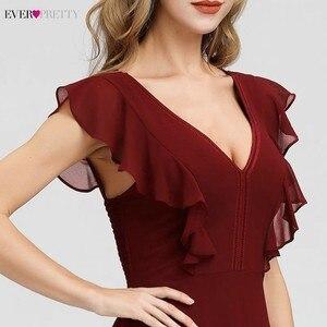 Image 5 - Ever Pretty Burgundy Bridesmaid Dresses A Line V Neck Ruffles Elegant Wedding Guest Dresses EP07902BD Vestidos Fiesta Boda 2020