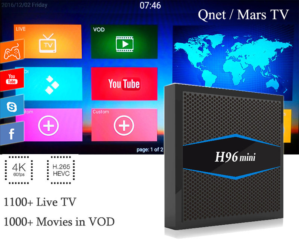 US $45 0 |Good Arabic IPTV Box H 265 Android tv box Iptv Arabic  Subscription 1300 Channel no monthly fee Mars TV 4K Android TV VOD  Movies-in Set-top