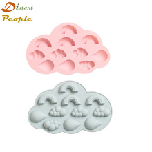 Silicone Chocolate Mold Rainbow Cloud Raindrops Shapes Baking Tools Non-stick Cake Candy 3D DIY