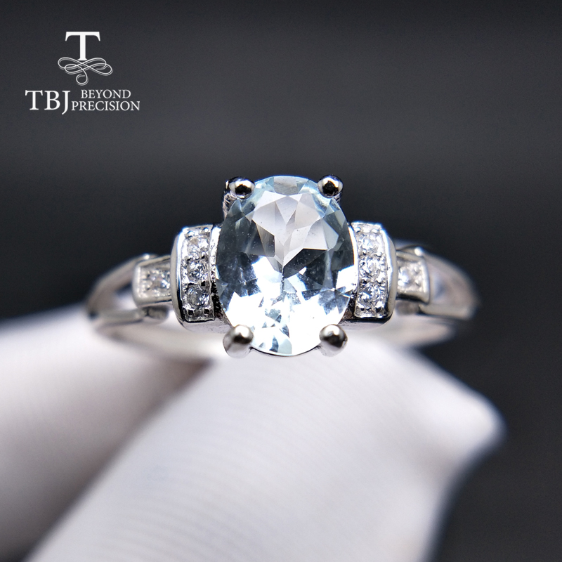TBJ Fashion small ring with natural Brazil aquamarine in 925 sterling silver precious stone jewelry for