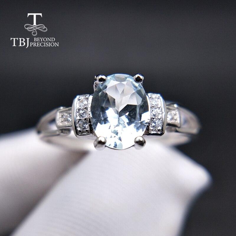 TBJ, mode kleine ring met natuurlijke Brazilië aquamarijn in 925 sterling zilveren edelsteen sieraden voor vrouwen & meisje als geschenk-in Ringen van Sieraden & accessoires op  Groep 1