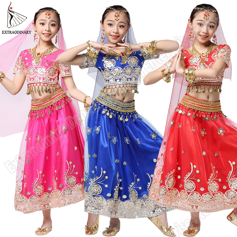 Image 2 - Girls Bollywood Dance Costume Set Kids Belly Dance Indian Sari Children Chiffon Outfit Halloween Top Belt Skirt Veil Headpiece-in Belly Dancing from Novelty & Special Use