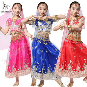 Image 2 - Girls Bollywood Dance Costume Set Kids Belly Dance Indian Sari Children Chiffon Outfit Halloween Top Belt Skirt Veil Headpiece