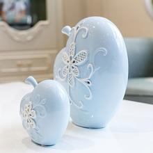 цена на Modern Creative apple  figurines & Miniatures blue fruit ceramic Crafts  birthday gift For Home wedding Decor