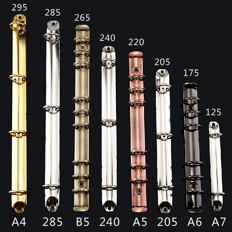 A4 B5 A5 A6 Stainless Steel Binder Clip Loose-leaf Colorful Metal Spiral Binder Clip File Folder Diary Clips Binding Ring Iron