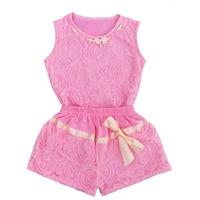 Moonlightzhou Pearl Kids Clothes Children Clothing Set Summer Pink Bowknot Lace Sleeveless Tops+Shorts 2pcs Baby Girls Clothing