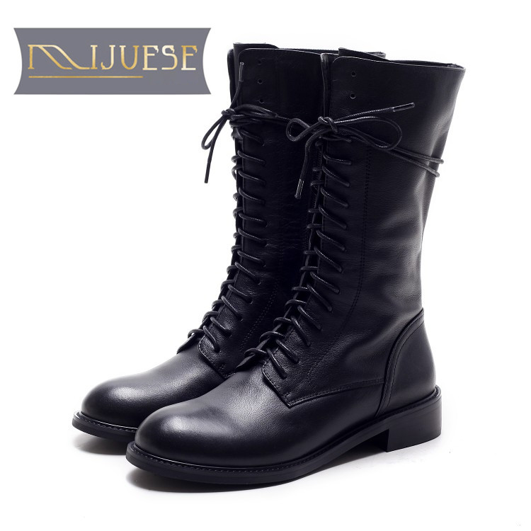 MLJUESE 2018 women Mid calf boots cow leather lace up zippers round toe autumn spring women