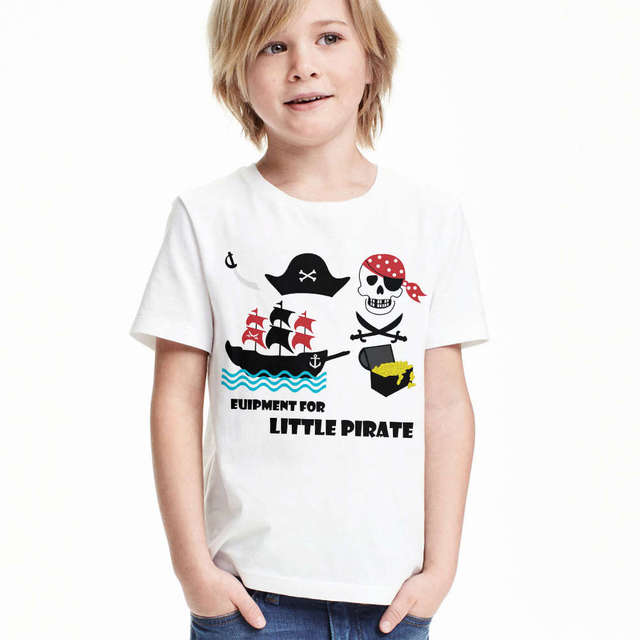 3f67b1299 toddler boys t-shirt little Pirate boat baby t shirt treasure skull little  Pirate equipment infant girls clothes kids tops tees