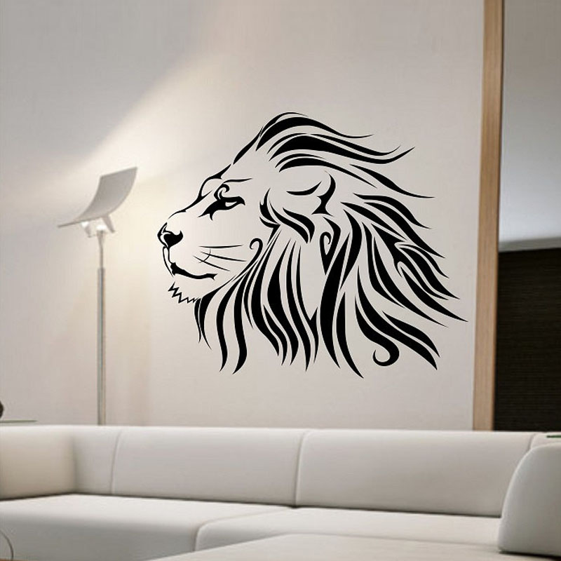 Zooyoo Lion Wall Sticker Fashionable Animals Home Decor