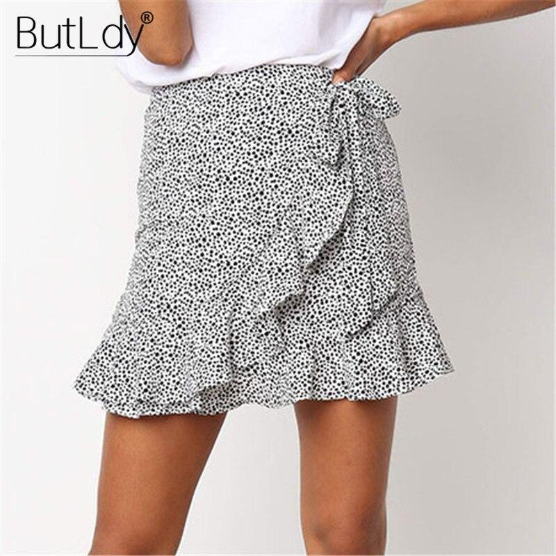 Polka Dot Wrap Mini Skirt Women Ruffle Irregular Casual Beach Skirt Spring Summer Bohemian Short Skirts Female Bottoms 2019