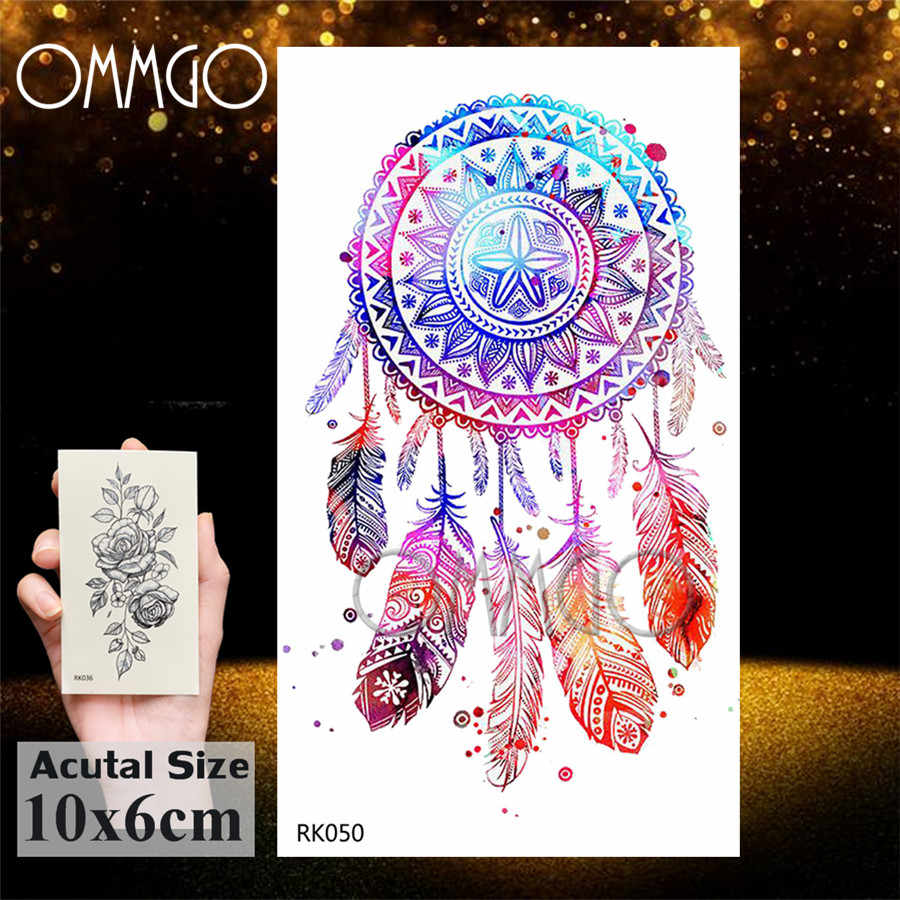 OMMGO Black Butterfly Dream Catcher Feather Pendant Temporary Tattoo Sticker Decal Girl Chest Fake Tattoos Custom Body Art Tatto