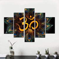 Home Decor Living Room Golden Sacred Syllable Paintings on Canvas Contemporary Artwork 5 Panel Prints Wall Art OM Symbol Picture
