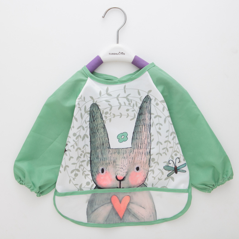 Cartoon Baby Bibs Apron Adjustable Burp Cloths Feeding with Long Sleeves Baby Accessories Stuff Cute Animals bavoir toddler kids