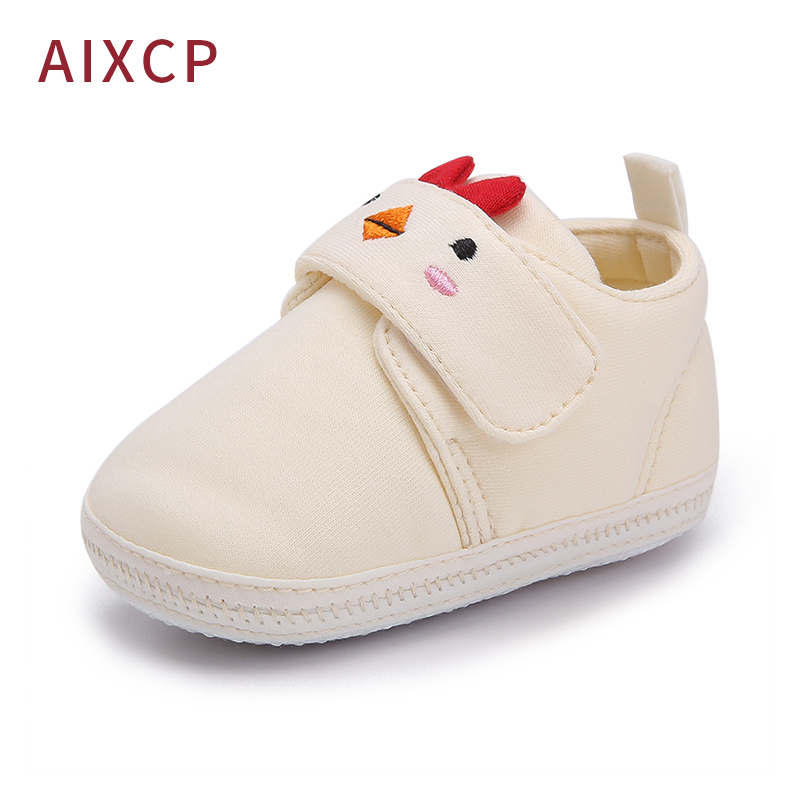 Cute Animal Prints Infant Baby Boy Girl Shoes Lovely Bear Chick Printing Cotton Fabric Baby Shoes Prewalkers Wholesale in First Walkers from Mother Kids
