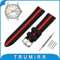 19mm 20mm 21mm 22mm Silicone Rubber Watch Band for Seiko Stainless Steel Tang Buckle Wrist Strap Bracelet Black Red + Tool