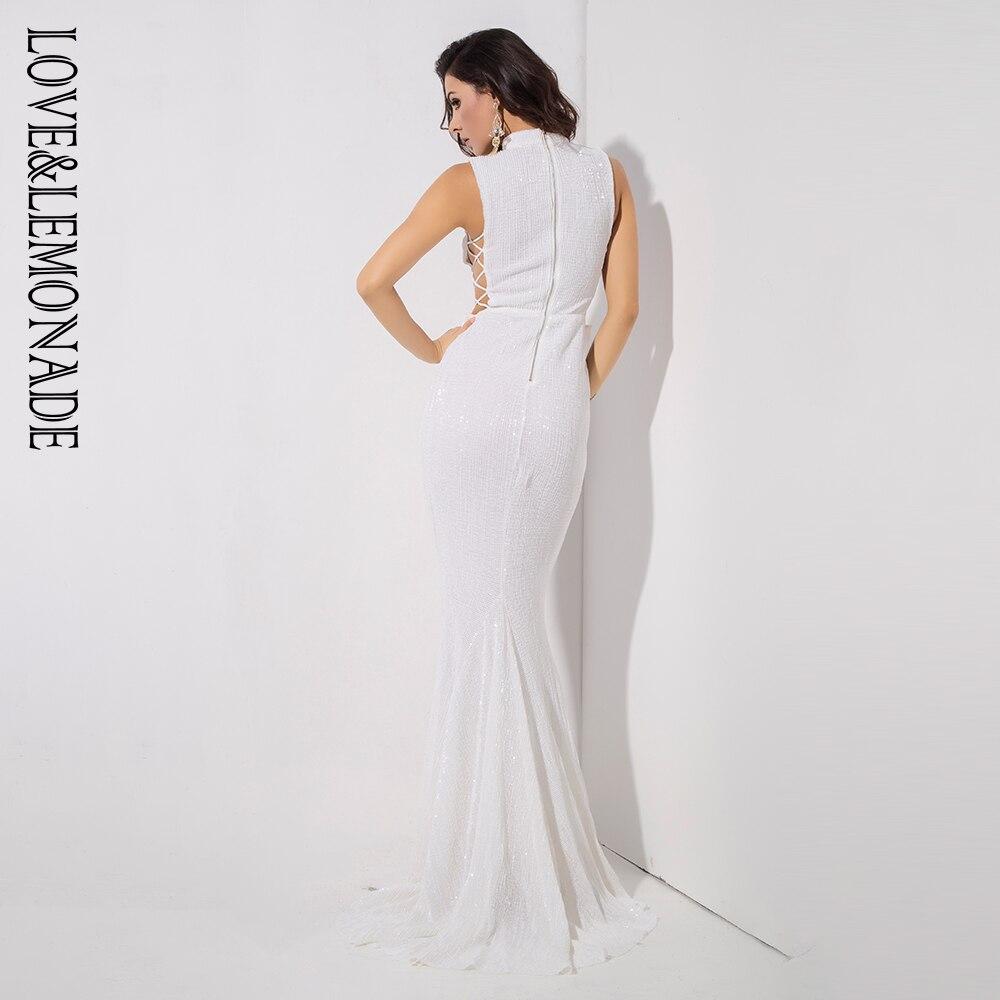 Love&Lemonade   White Collar Side Cut Out Fishtail Slim Elastic Sequins Long Dress LM1153