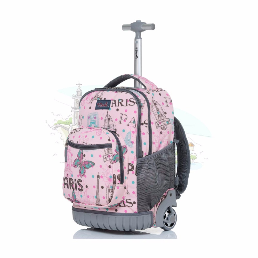LeTrend Cute Cartoon Children Rolling Luggage Caster Travel Bag Student Backpack Trolley 18 inch Cabin Suitcase Wheels