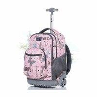 LeTrend Sevimli Karikatür Çocuk Haddeleme Bagaj Tekeri Seyahat Çantası Öğrenci Sırt Çantası Arabası 18 inç Kabin Bavul Tekerlekler