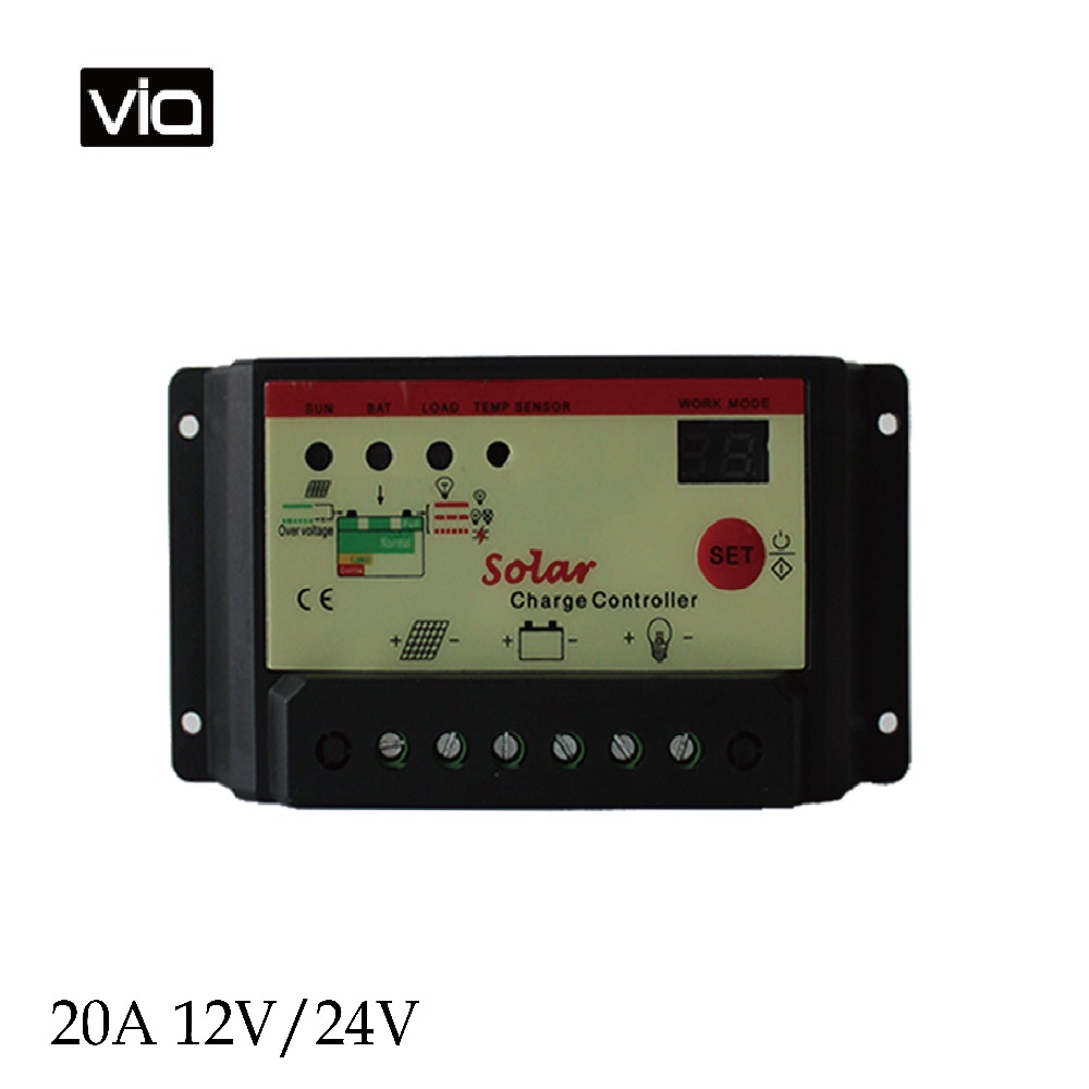 20A 12V/24V VIA Free Shipping Solar controller Solar Cell panels Battery Charge Controller LED display with timer 3pcs solar controllers new 10a 12v 24v solar panels battery charge controller 10amps lamp regulator free shipping