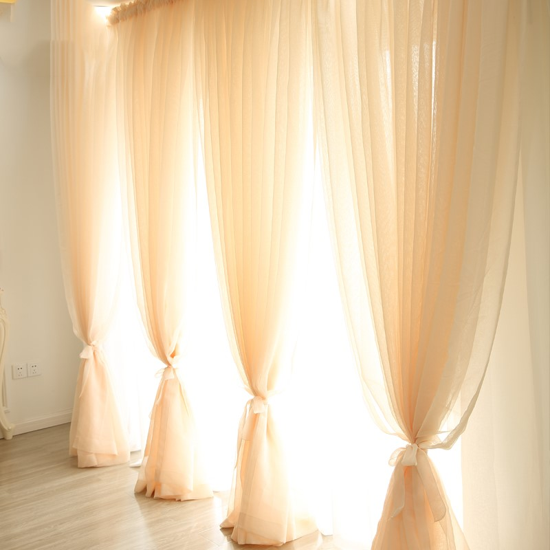 Elegant finished curtains living room bed room Partition curtains ceiling windows linen fabrics fashionable white Gauze curtains