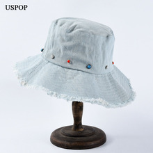 USPOP 2019 Autumn New hats for women Soft denim bucket female beading rough edges Cotton collapsible sun