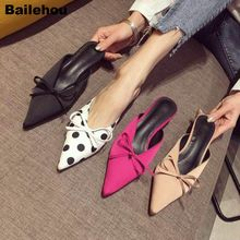 Bailehou Women Slippers 2019 Spring New Fashion Polka Dot Kitten Heel Mules Sexy Pointed Toe Med Slip On Slides