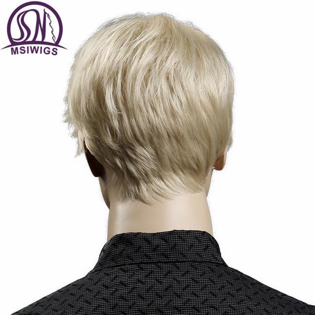 MSIWIGS Court Blonde Mâle Synthétique Perruques Américain Européenne 6 Pouce Droite Hommes Perruque avec Livraison Chapeau de Cheveux Résistant À La Chaleur 5