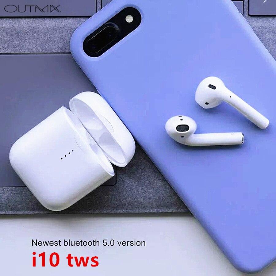 OUTMIX i10 tws Bluetooth наушники беспроводные наушники Bluetooth 5,0 гарнитура в ухо сенсорное управление наушники беспроводные для телефона