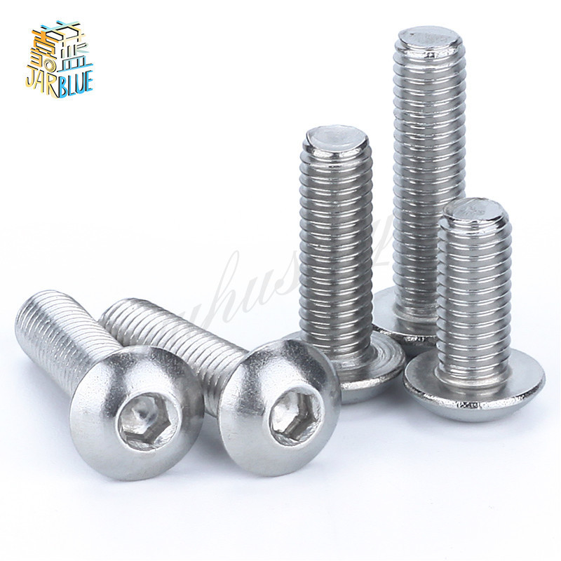 10PCS Button Head Socket Cap Screw 304 Stainless Steel Round/Pan Head Screws M5 * 25mm 304 stainless steel pan head screws round head screws hexagonal bolts mushrooms m5 8mm