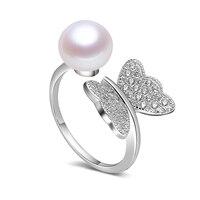 Вечное Свадебное женское Подарочное слово 925 Стерлинговое Серебро, настоящее кольцо из натурального пресноводного жемчуга, бабочки, снежин