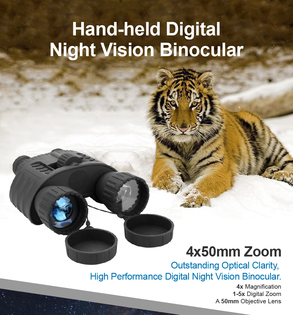 4x50 Digital Night Vision Binocular with 850nm Infrared Illuminator 300m Range Takes 5mp Photo & 720p Video with 1.5inch TFT LCD
