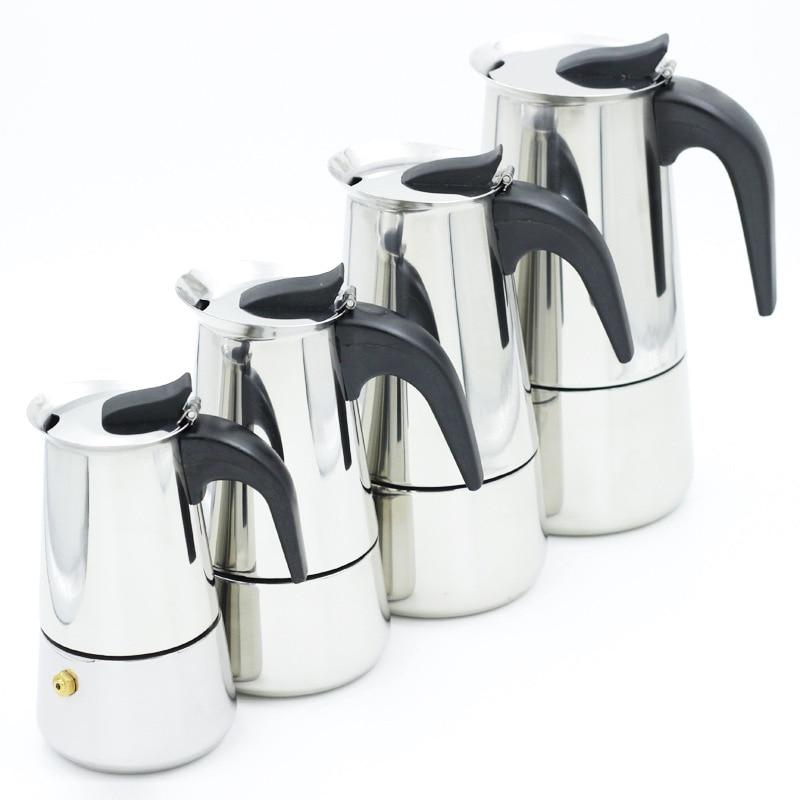 Stainless Steel Moka Coffee Maker Pot Mocha Espresso Latte Stovetop Filter Coffee Pots 100ML 200ML 300ML 400ML Percolator Tools