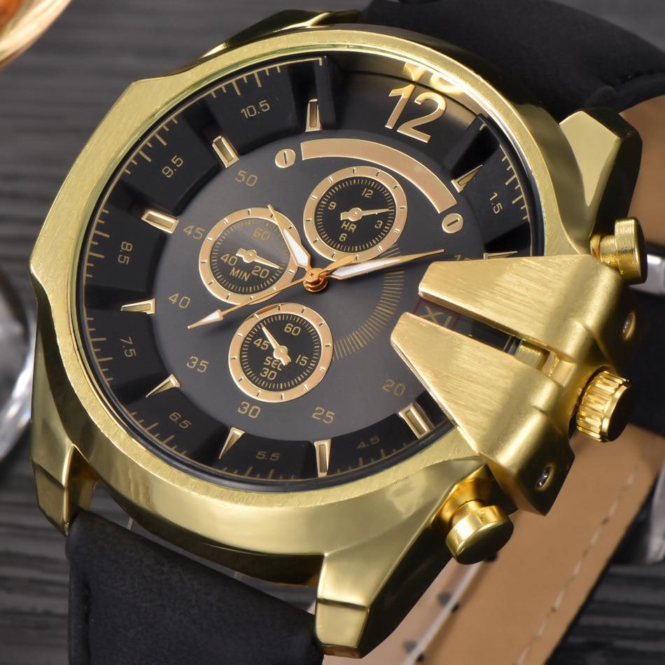 Famous Designer Mens Watches Top Brand Luxury Quartz Watch Cindiry Leather Strap Big Face Military Quartz