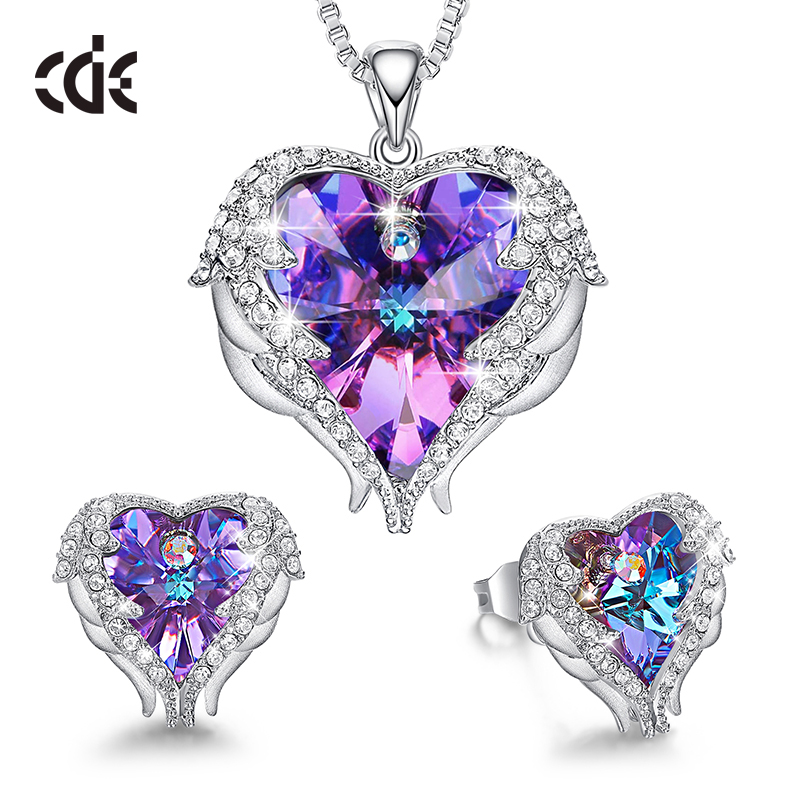 05d0720b01d CDE Jewelry Set Women Angel Wing Crystals from Swarovski Pendant Necklace  Heart of Ocean Stud Earrings for Mothers Day Gifts