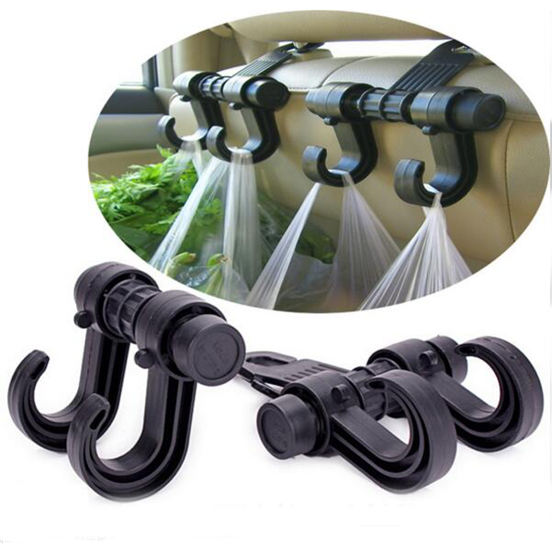 new double auto car back seat headrest hanger holder hooks clips for bag purse cloth grocery. Black Bedroom Furniture Sets. Home Design Ideas