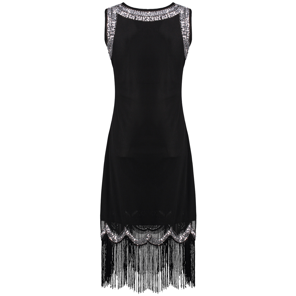 9458dc44642 Stretchy Little Black Dress Women s 1920s Vintage Fringe Embellished Sequin  Beaded Flapper Dress Gatsby Tunic Top Shift Dress-in Dresses from Women s  ...