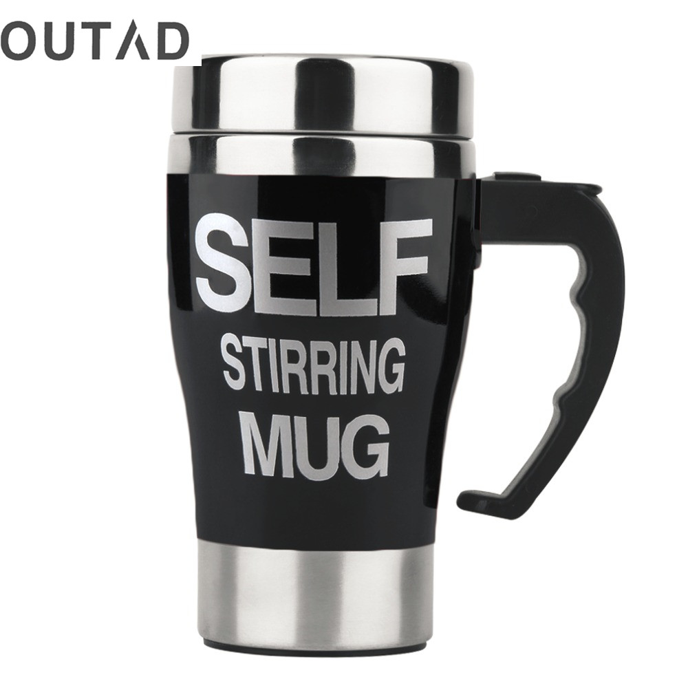 OUTAD HOT Sale 6 Colors Stainless Steel Lazy Self Stirring Mug Auto Mixing Tea Milk Coffee