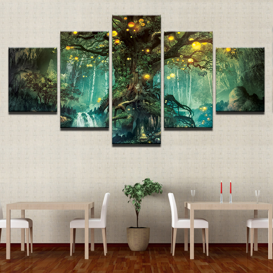 HD Printed Home Decor Paintings On Canvas Wall Art 5 Pieces Enchanted Tree Scenery Modular Vintage Pictures For Living Room 1