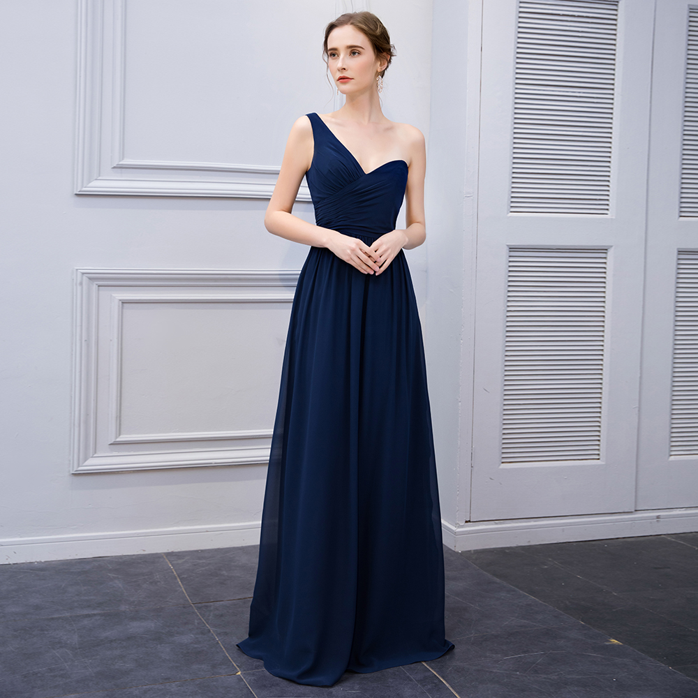 One Shoulder Navy Long Chiffon Formal Evening Dresses Women Evening Dress  Prom Gowns For Wedding Party Cheap Cocktail Prom Dress-in Evening Dresses  from ... c3bf464db69c