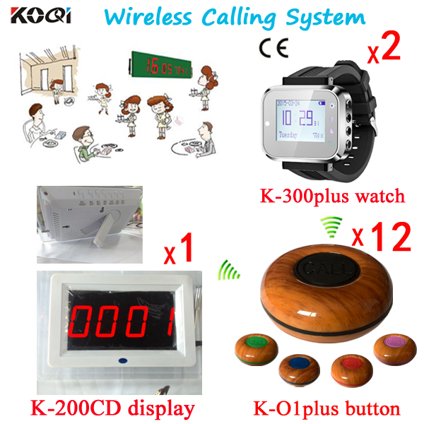 Restaurant Wireless Service Calling System ( 1 Screen+2 Watches+12 Table Buttons) title=