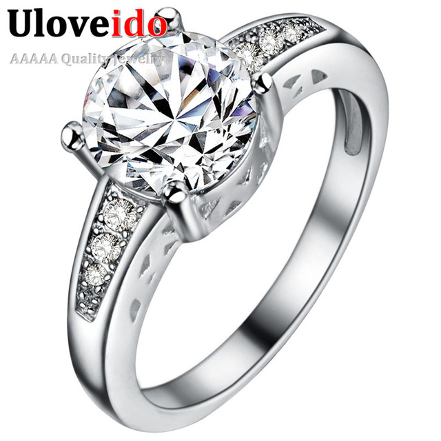 Uloveido 5% Off Rings for Women Ring with Crystal for Lovers Silver Color Wedding Jewelry Bague Femme Bijoux Anillos Mujer PJ153