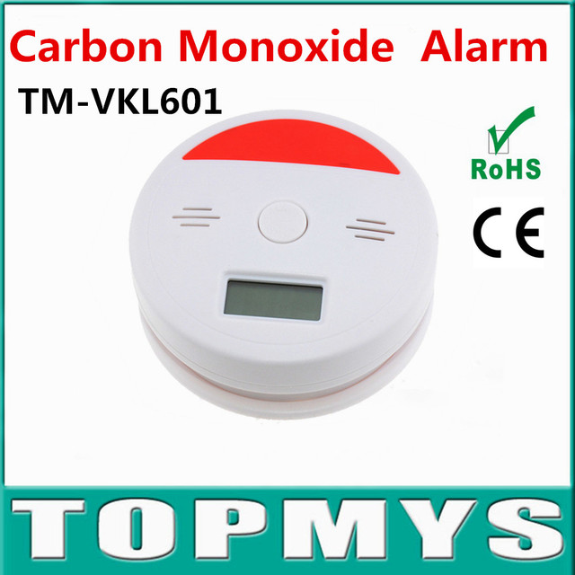 free shipping 2pcs/lot photoelectric Independent CO Alarm Carbon Monoxide Poisonous Toxic Smoke Detector with LCD display
