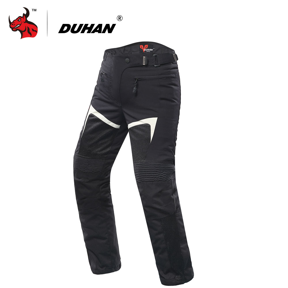 DUHAN Motorcycle Pants Men's Motorbike Motocross Off-Road Knee Protective Pants Casual Pants Pantalon Moto Riding Pants Black