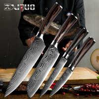 XITUO nueva belleza venas cuchillos de cocina de Santoku cortar Chef Damasco las venas de madera de Color mango cuchillo de acero inoxidable