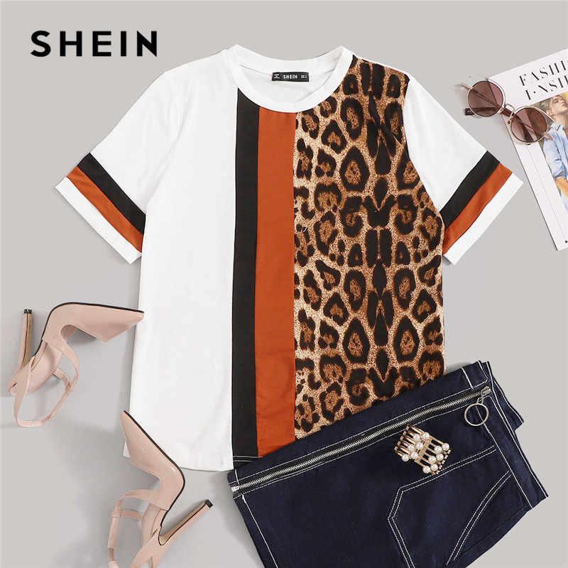 SHEIN белый Цвет блок вырезать и шить Леопардовый топ с декоративной полосой короткий рукав с О-образным вырезом Повседневное футболка Для женщин 2019 летняя рубашка для отдыха Топы