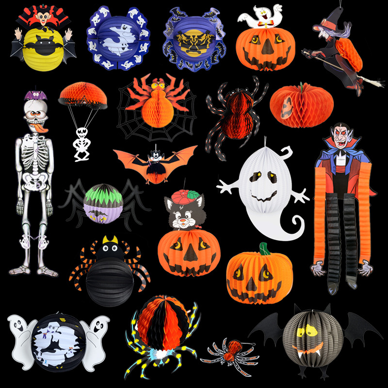 1 pices happy halloween decorations store bar stereo paper ghost bat spider skull lantern parachute free - Halloween Decorations Store
