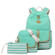 Fashion Causal Canvas Stripe Backpack Cute Teen Backpacks For Girls School Bag Good Gifts(China)